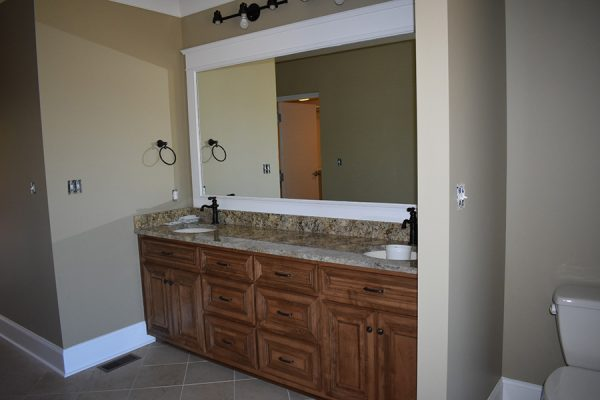 Master bathroom with a double sink vanity.