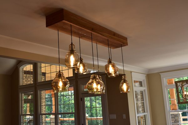 Kitchen bar light fixture with Edison Lightbulbs.