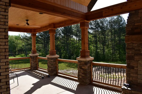 Wood and Stone details on back porch and outdoor living space.