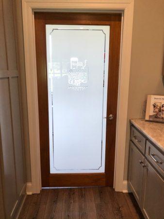 Etched glass pantry door.