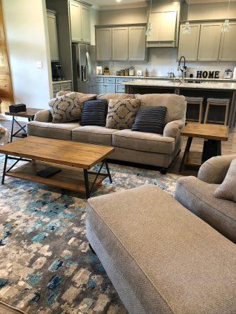 Open floor plan living room and kitchen.